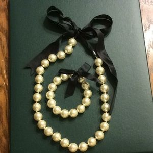 Jewelry - Faux Pearl Necklace & Bracelet Set w/ Ribbon Ties